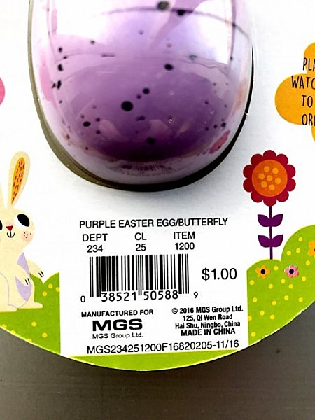 Model Number of Hatch and Grow Easter Egg-Back of Package