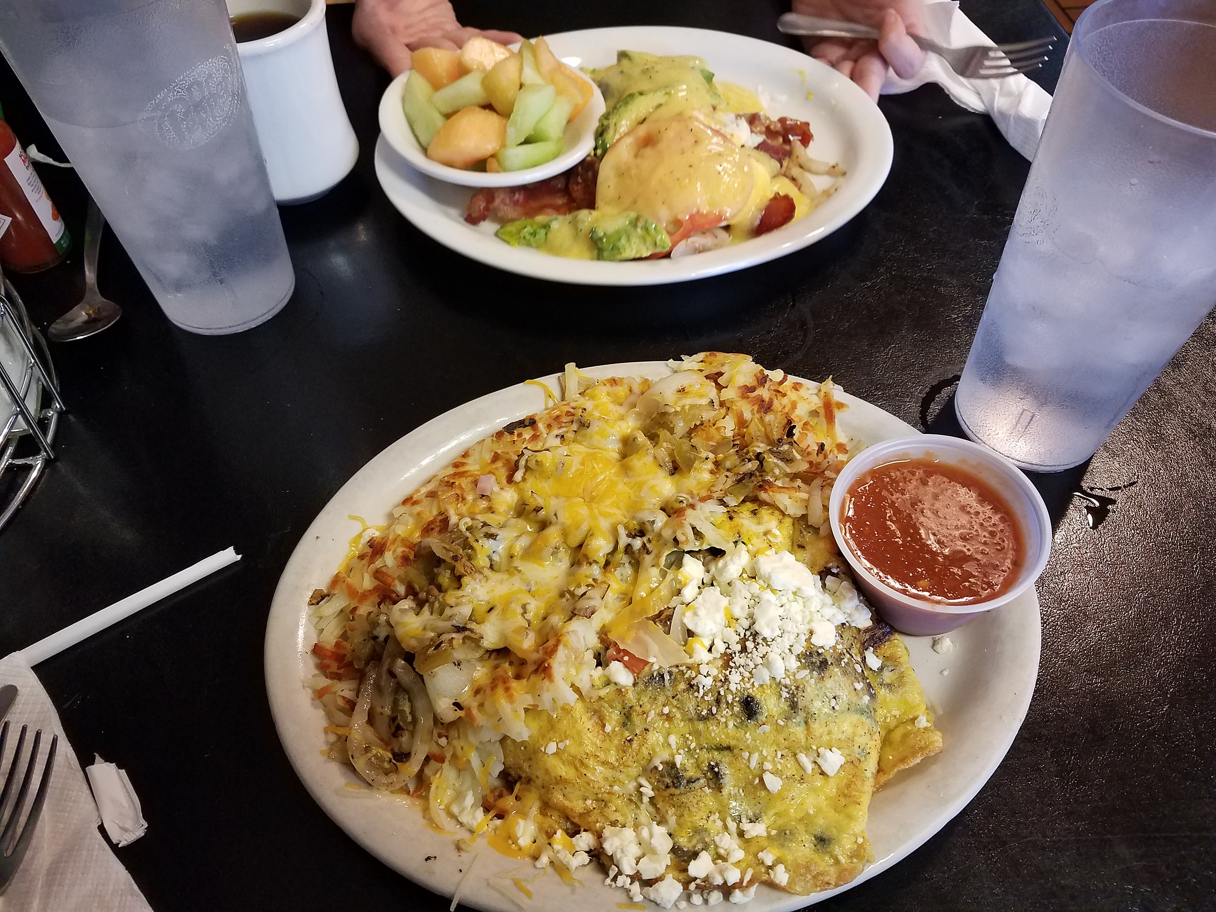 House Eggs Benedict with Fruit & a Huge Omelette with Stuffed Hash Browns